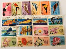 Sellos de Pájaros, Peces Y Flores. Panama.