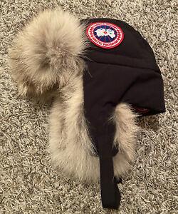 NEW Canada Goose Down Aviator Hat w/ Real Fur Black Size S/M Small/Medium NWT