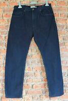 Mens M&S Navy Blue Cotton Jeans Trousers W34 L29 Regular Casual