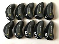 10PCS Golf Iron Covers RH for Cobra Club Headcovers 4-LW Universal Black Gray