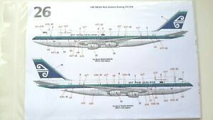 26 Decals Boeing B747-200 Air New Zealand 1/144 Scale decal and instruction only
