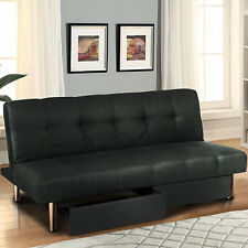 Microfiber Futon Folding Sofa Bed Couch Mattress & Storage Recliner Lounger