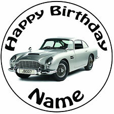 "Personalised Birthday James Bond Aston Martin Round 8"" Precut Icing Cake Topper"