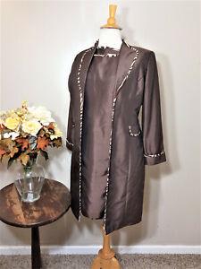 DANA KAY Brown/Beige Trim 2-Piece Dress Suit-Size 14