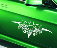 1Pcs Car Front Hood Cover Scratch Stickers Decals For White Skull Racing Decals