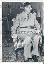 1944 France General Charles De Gaulle in Uniform Profile Press Photo