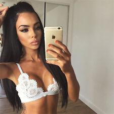 Women Embroidery Lace Strappy Bralette Halter Bustier Vest Crop Top Bra Lingerie