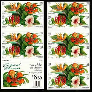 USA # 3310-3313 Tropical Flowers 33c (1999) - Book of 20 Postage Stamps MNH