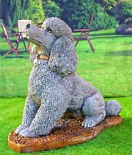 Lifesize Sitting Poodle Dog Stone Cast House Ornament Or Garden Statue