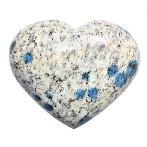 Himalayan K2 Granite / Azurite Crystal Puffy Heart / Palm Stone Healing Energy!