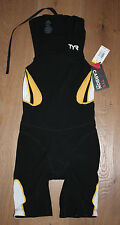 Tyr Men's Xs Black Gold White Triathlon Carbon Zipperback Shortjohn w/ Pad New