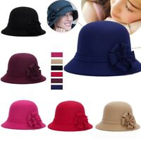 Womens Vintage Elegant Cloche Flower Wool Felt Bucket Hat Headwear Church Cap