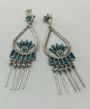 Darren Kaasaas Zuni Indian .925 Sterling Silver Turquoise Needle Point Earrings