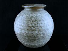Antique Vintage Korean Buncheong Chrysanthemum Stoneware Vase ca. 1400 - 1940s