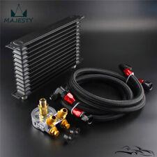 13 Row Engine Trust Oil Cooler w/ Thermostat 80 Deg Oil Filter Adapter Hose Kit