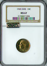 1965 ROOSEVELT DIME NGC MAC MS-67 SMS RNBO RAINBOW .