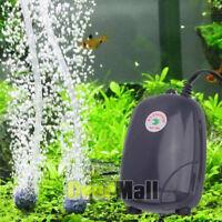 Low Noise Silent Air Pump Aquarium Fish Tank Pump Hydroponic Oxygen 2 Outlet US