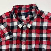 John Ashford Button Up Shirt Mens 3XLT Red Black Flannel Long Sleeve Casual