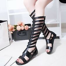Khoee Women 883 Black Studded Roman Gladiator Knee High Tall Sandals Boots