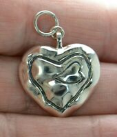 Solid 925 Sterling Silver Hammered Heart Charm Pendant .