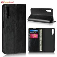 Luxury Genuine Leather Wallet Flip Case Stand Cover For Samsung Galaxy A7 2018