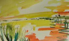 JOSE TRUJILLO SUNSET ART ORIGINAL Watercolor Painting IMPRESSIONIST MARSHLAND