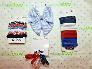 Scunci Elastics Patriotic Set Bow Clip Scrunchies & Twist Ponytail Holders