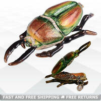 Insect Bug Miniature Jewelry Trinket Box with Hinged Lid Enamel Jeweled Crystals