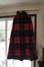 Womens Vintage 1960s Irish Full Length Plaid Wool Cape Hood Red /Jimmy Hourihan?