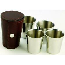 4 x Stainless Steel Nip Cups with Burgundy Brown Leather Pouch