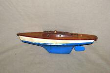 """Vintage Pond Sailboat Model Wooden Deck & Plastic Hull Keel & Rudder 15 1/4"""""""