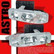 1995-2005 Chevy Astro Van GMC Safari Chrome Headlights Head Lamps 1 Pair
