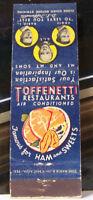 Rare Vintage Matchbook Cover V2 New York City Toffenetti Restaurants Ham Sweet