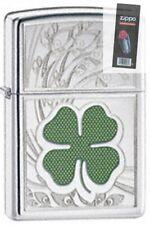 Zippo 24699 four leaf clover luck Lighter + FLINT PACK