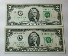 RARE $2 Dollar Bills - Series 2013  District K 03443434 A  # K 03443435 A S005
