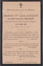 1895 Memento de Mme Léon JACQUOT née Aglaé-Françoise LÈBE GIGUN.
