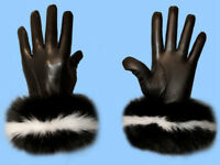 NEW MENS size 9 or Large SKUNK INSPIRED BLACK & WHITE FOX FUR LEATHER GLOVES