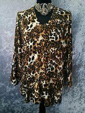 RTM Leopard Print Top - Vintage Retro Knit Animal Batwing Sleeve V-Neck - 18/XL