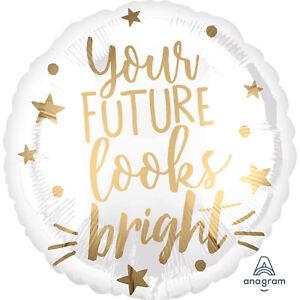 Future Looks Bright Graduation Foil Party Balloon Classy White & Gold Decoration