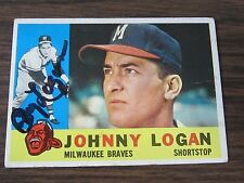 1960 Topps # 205 Johnny Logan Autograph / Signed card Milwaukee Braves