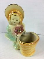 Shawnee Pottery Girl With Bonnet Basket Planter Yellow with Gold Trim USA 534