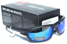 UNDER ARMOUR Hook'd POLARIZED Sunglasses Satin Black/Blue Storm Fishing NEW $170