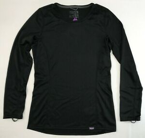 Women's PATAGONIA Capilene Midweight Crew Shirt #44435 BLACK Baselayer Top NEW