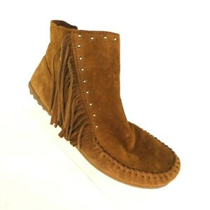 Minnetonka Women's Ankle Boots US 9.5 Brown Suede Fringe Side Zip Moccasin