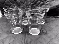 "Vintage Clear Glass Juice Tumblers 4"" Tall Ribbed Sides Leaf Design Set Of 5"