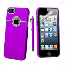 Housse Coque Rigide Silver-Line chromé Violet Apple iPhone SE 5S 5 + Stylet