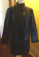 MODERN CLASSICS BLACK KNEE LENGTH LEATHER COAT SIZE 16 EXCELLENT CONDITION