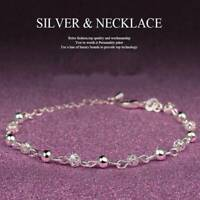 Lady 925 Silver Plated Ball Chain Anklet Crystal Bracelet Xmas Christmas Jewelry