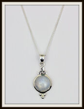 MOONSTONE & STERLING SILVER TRINITY CELTIC PENDANT NECKLACE ~ FREE FAST P&P