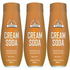3 x SodaStream Flavoured Carbonated Drink Syrup 440ml Bottle, Classic Cream Soda